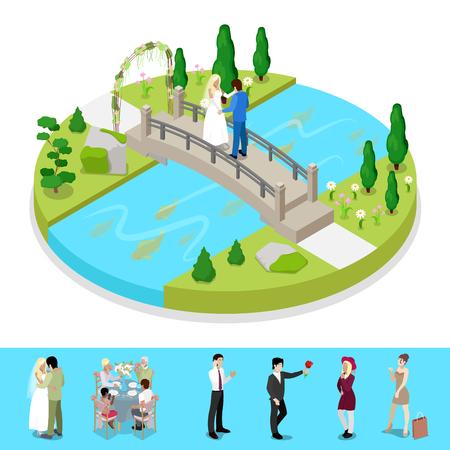 結婚式のカップル成分は等尺性都市公園。野外活動。ベクトル平らな 3 d イラスト  イラスト・ベクター素材