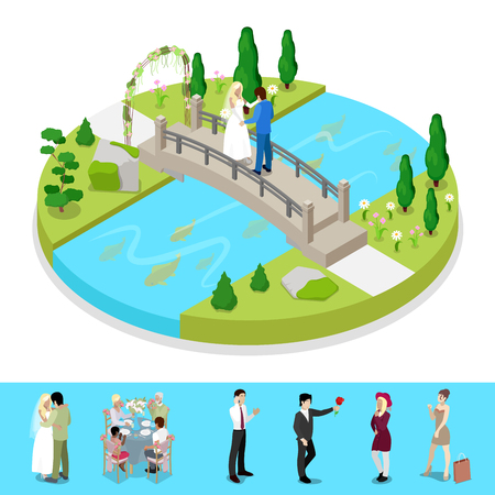 Isometric City Park Composition with Wedding Couple. Outdoor Activity. Vector flat 3d illustration