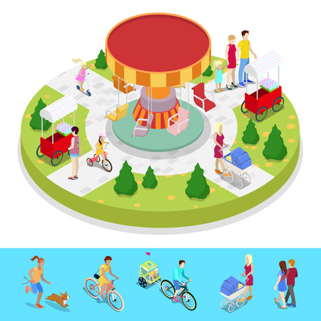 Isometric City Park Composition with Children and Amusement Carousel. Outdoor Activity. Vector flat 3d illustration