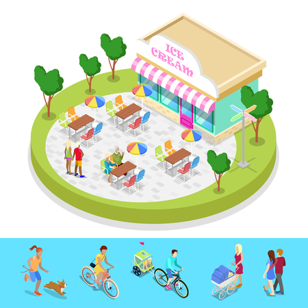 Isometric City Park Composition with Cafe and Walking People. Outdoor Activity. Vector flat 3d illustration
