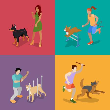 犬の訓練。ペットを持つ人々。等尺性ベクトル平らな 3 d イラスト