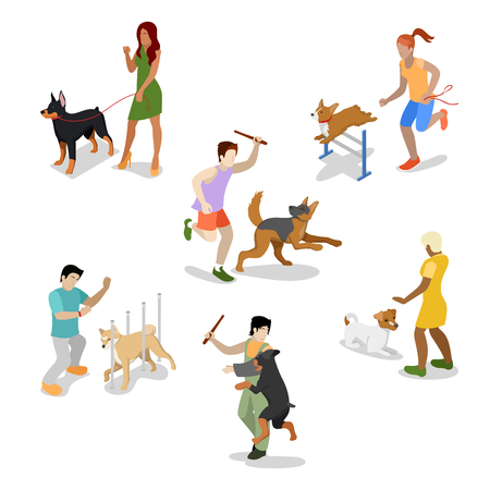 Isometric People Training Dog. Vector flat 3d illustration
