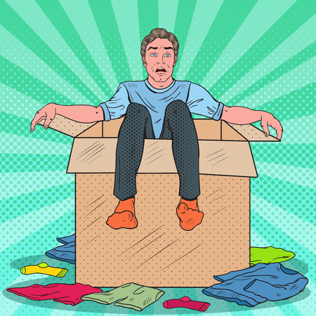 Pop Art Stressed Man in the Box with Clothes. Guy Moving with the  Boxes to new House. Vector illustration