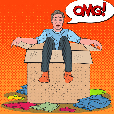 Pop Art Stressed Man in the Box with Clothes. Guy Moving to new House. Vector illustration