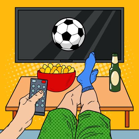 Man met afstandsbediening Kijkt voetbal op tv in de woonkamer. Pop-art vectorillustratie