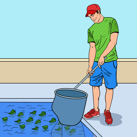 Pop Art Smiling Man Cleaning Pool From Leaves. Cleaning Service. Vector illustration Illustration
