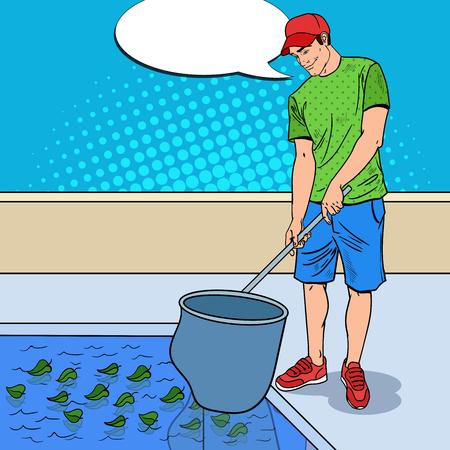 Junger Mann, der Pool von den Blättern reinigt. Reinigungsservice. Pop-Art-Vektor-Illustration Standard-Bild - 79087040
