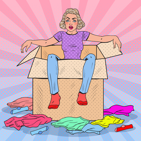 Pop Art Tired Woman in the Box with Different Clothes. Moving to new House. Vector illustration Ilustracja