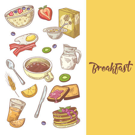Healthy Breakfast Hand Drawn Design with Pancakes, Coffee and Cornflakes. Eco Food. Vector illustration.