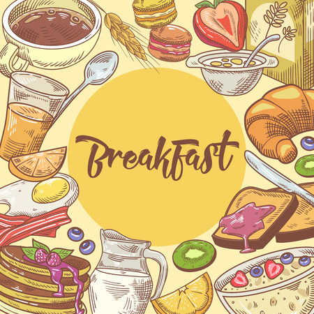 Healthy Breakfast Hand Drawn Design with Croissant, Fruits and Cornflakes. Eco Food. Vector illustration 向量圖像