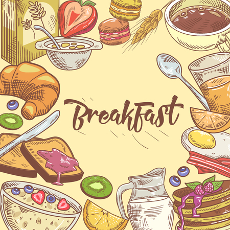 Healthy Breakfast Hand Drawn Design with Sandwich, Fruits and Bakery. Eco Food. Vector illustration