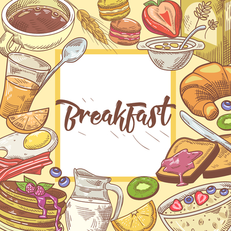 Healthy Breakfast Hand Drawn Design with Toasts, Fruits and Juice. Eco Food. Vector illustration