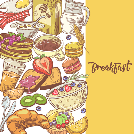 Healthy Breakfast Hand Drawn Design with Milk, Fruits and Bakery. Eco Food. Vector illustration. 向量圖像