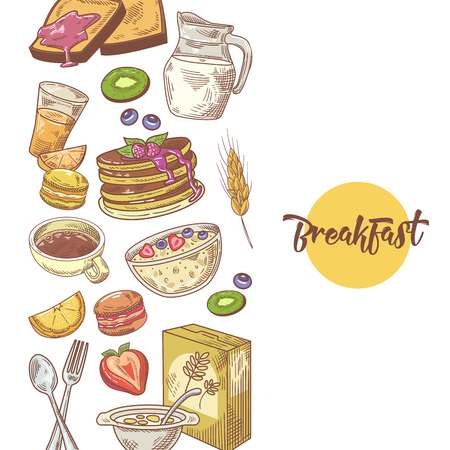 Healthy Breakfast Hand Drawn Design with Cornflakes, Fruits and Bakery. Eco Food. Vector illustration