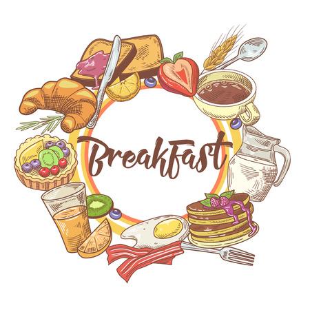 健康的な朝食の手には、コーヒー、果物やパン屋さんのデザインが描かれました。エコ食品。ベクトル図