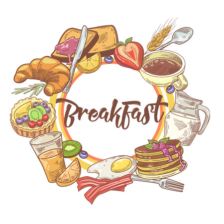 Healthy Breakfast Hand Drawn Design with Coffee, Fruits and Bakery. Eco Food. Vector illustration 向量圖像