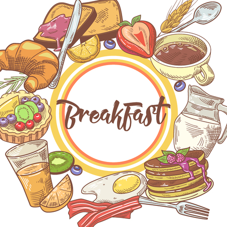 Healthy Breakfast Hand Drawn Design with Pancakes, Fruits and Milk. Eco Food. Vector illustration