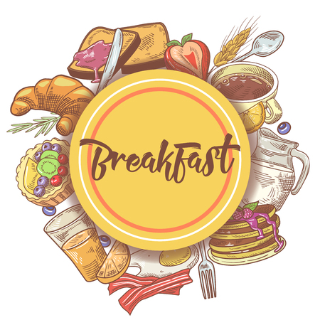 Healthy Breakfast Hand Drawn Design with Eggs, Fruits and Bakery. Eco Food. Vector illustration 向量圖像