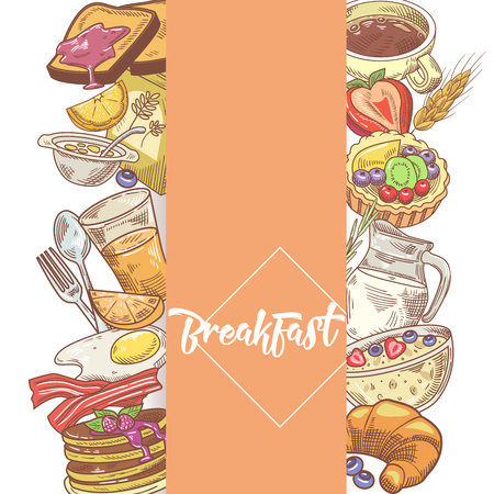 Healthy Breakfast Hand Drawn Design with Bakery, Cornflakes and Juice. Eco Food. Vector illustration. Illustration
