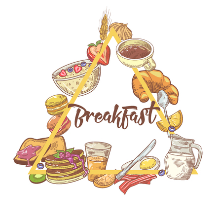 Healthy Breakfast Hand Drawn Design with Toasts, Eggs and Cornflakes. Eco Food. Vector illustration