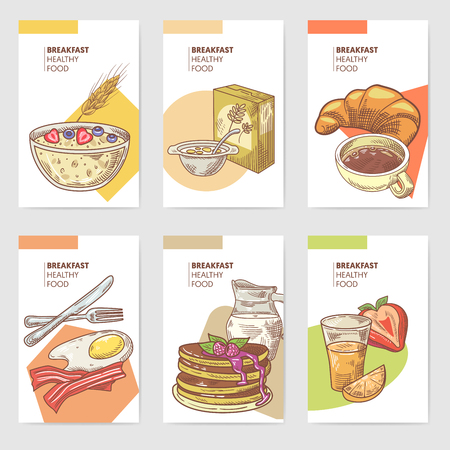 Healthy Breakfast Hand Drawn Cards Brochure Menu with Pancakes, Coffee and Cornflakes. Eco Food. Vector illustration