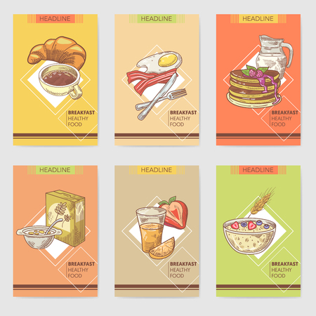 Healthy Breakfast Hand Drawn Cards Brochure Menu with Milk, Eggs and Cornflakes. Eco Food. Vector illustration 向量圖像