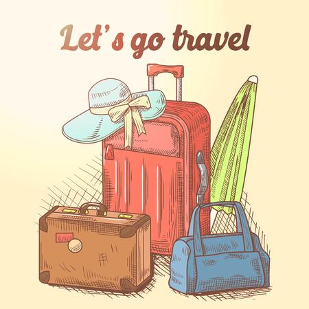 Lässt gehen Hand gezeichnetes Design. Sommerferien-Hintergrund mit Gepäck und Taschen. Vektor-Illustration Standard-Bild - 79589477