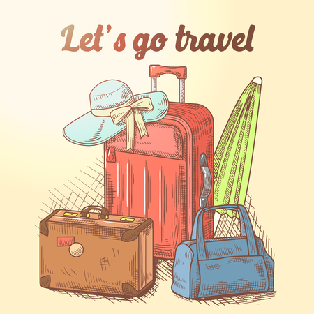 Lets Go Travel Hand Drawn Design. Summer Vacation Background with Luggage and Bags. Vector illustration