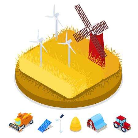 等尺性のエコロジー概念。再生可能エネルギーの風車。農業業界。ベクトル平らな 3 d イラスト