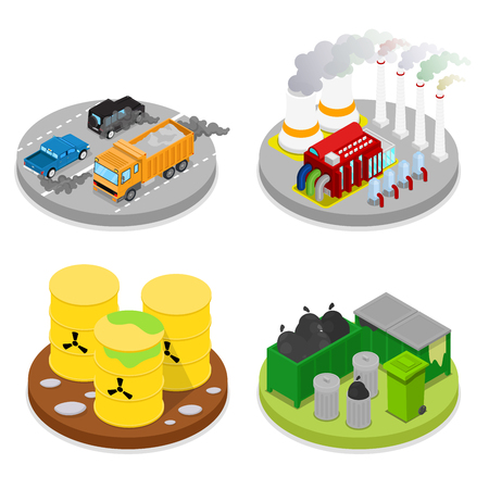 dangerous construction: Isometric Environmental Pollution Set. Chemical Waste. Industrial Building. Vector flat 3d illustration