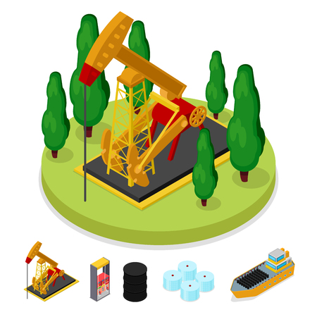 Isometric Gas and Oil Industry. Platform Drilling. Fuel Production. Vector flat 3d illustration