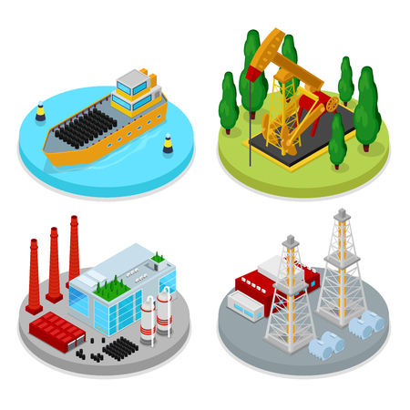 Isometric Gas and Oil Industry. Industrial Plant, Platform Drilling and Barrels. Fuel Production. Vector flat 3d illustration