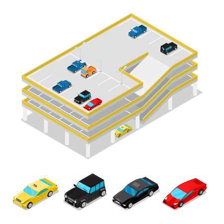 Isometric Car Parking. City Transportation. Multilevel Parking Area. Vector flat 3d illustration.