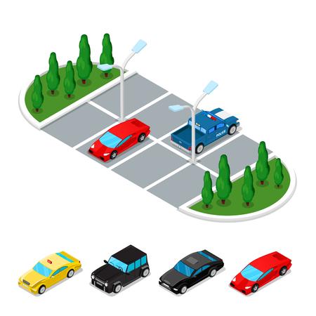 Isometric Car Parking Area. City Transportation. Vector flat 3d illustration