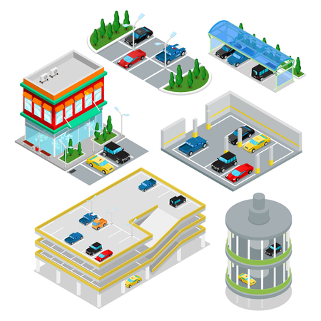 Isometric Car Parking Set. City Transportation. Underground Parking Area. Vector flat 3d illustration Illustration