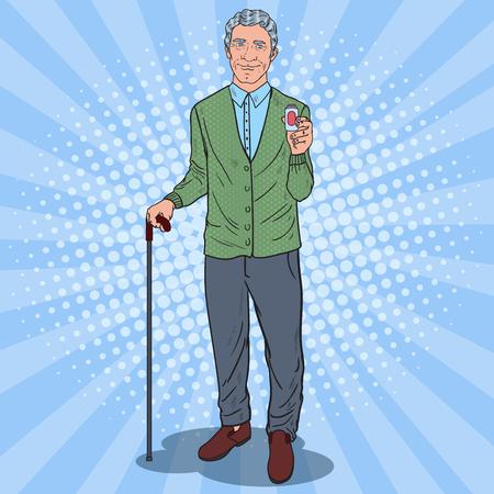 Pop Art Senior Man Holding Pills. Health Care. Vector illustration
