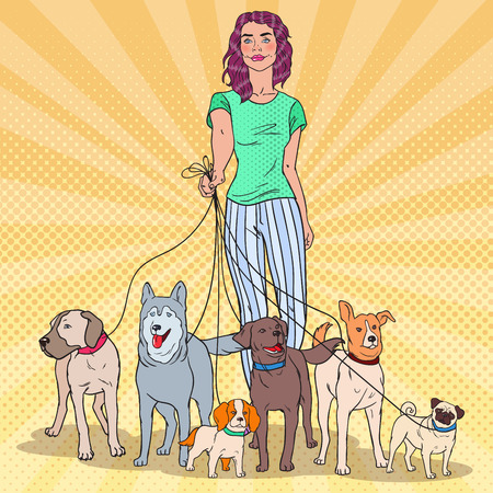Pop Art Beautiful Woman Walking with Many Dogs of Different Breeds. Vector illustration