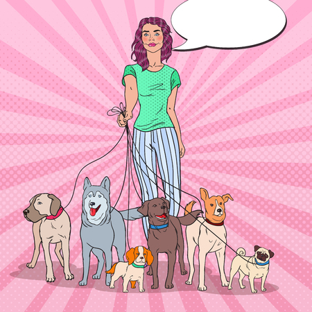 Pop Art Young Woman Walking with Many Dogs of Different Breeds. Vector illustration
