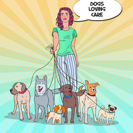 Pop Art Pretty Woman Dog Walker. Vector illustration.