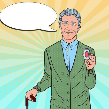 Happy Senior Man with Medications. Health Care. Pop Art Vector illustration
