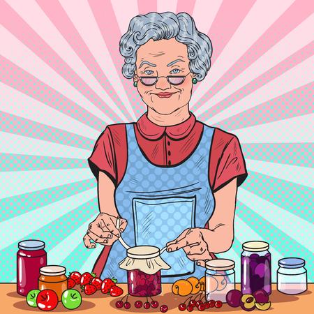 Pop-Art-glückliche ältere Frau, die selbst gemachten Stau macht. Gesundes Essen. Vektor-Illustration.