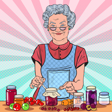 Pop Art Happy Senior Woman Making Homemade Jam. Gezond eten. Vector illustratie. Stockfoto - 79568411