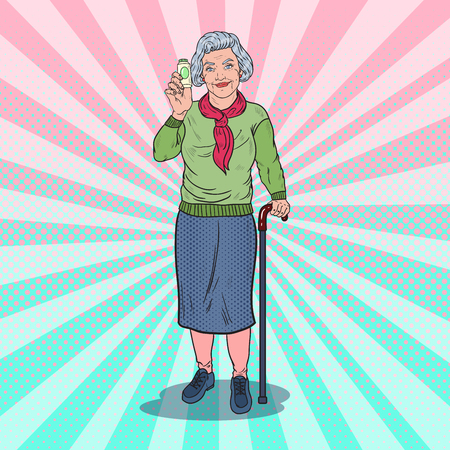 Pop Art Senior Happy Woman Holding Medicine Pills. Health Care. Vector illustration