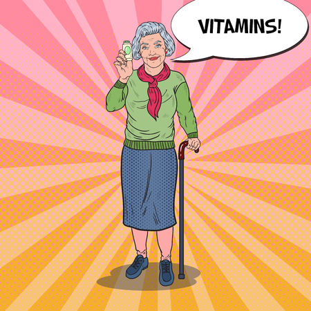 Pop Art Senior Happy Woman with Vitamins. Health Care. Vector illustration