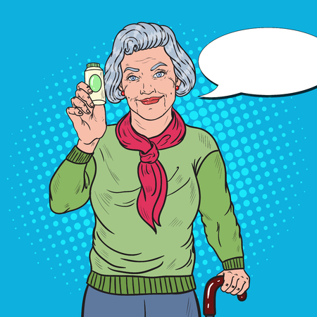 Pop Art Senior Happy Woman with Pills. Health Care Concept. Vector illustration