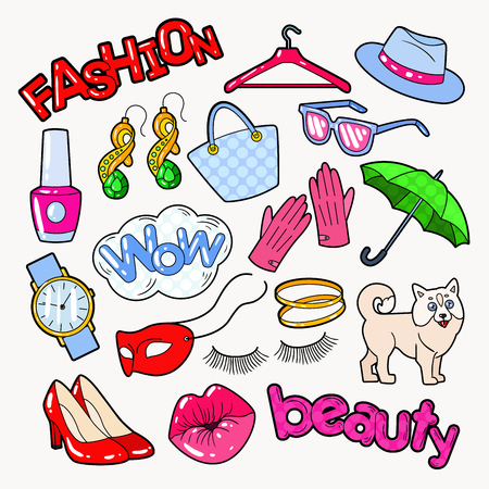 Woman Fashion Doodle with Accessories and Clothes. Vector illustration