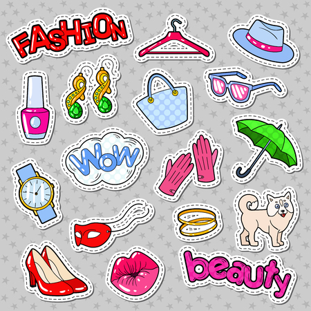 Woman Fashion Stickers, Badges and Patches with Accessories and Clothes. Vector illustration