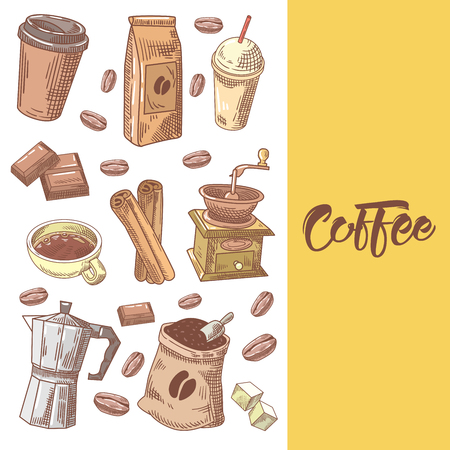 Coffee Hand Drawn Doodle with Coffee Beans, Sugar and Chocolate. Food and Drink. Vector illustration