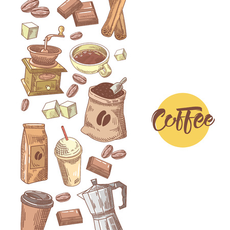 Coffee Hand Drawn Design with Coffee Beans, Sugar and Cinnamon. Food and Drink. Vector illustration