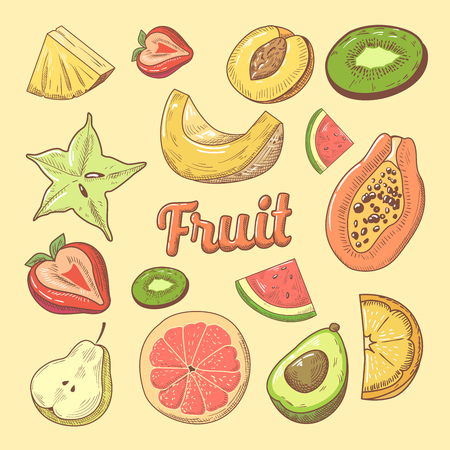 Fruit Pieces Hand Drawn Doodle with Papaya, Watermelon and Pineapple. Natural Food. Vector illustration Illustration